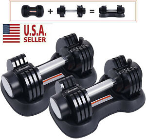 Adjustable Dumbbell 0525 Fitness Strength Training Workout Select 25 lbs (Pair)