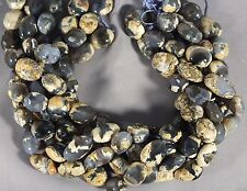 GORGEOUS TRANSLUCENT SMOKY BLUE CHALCEDONY IN MATRIX 16-20MM NUGGET BEADS