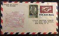 1941 Lisboa Portugal First Flight Airmail cover FFC To New York USA Via Bolama