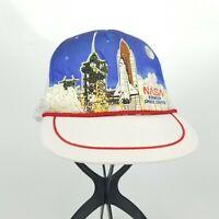 Vintage NASA Space Shuttle Launch Kennedy Space Center Trucker Hat White Blue