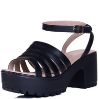 WOMENS PLATFORM CHUNKY CLEATED SOLE BLOCK HEEL SANDALS SHOES