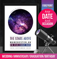 Personalised 'first date' star map perfect gift for birthday/wedding/anniversary
