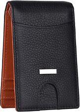 RFID Blocking Black Orange Money Clip Leather Card Holder Wallet for Men