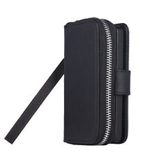 Magnetic Leather Zipper Wallet Case Cover Card Flip Purse For iPhone 4 4s Black
