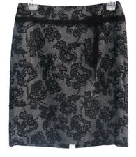 Ann Taylor Petites Pencil Skirt 10P Embroidered Black Tweed Lined