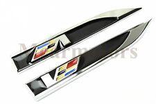 2Pcs Black V Left & Right Vip Car Fender Skirts Knife Side Sticker Badge Emblems