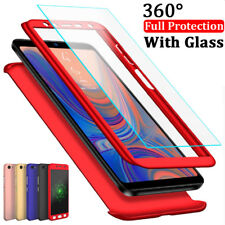For Samsung Galaxy A6 A8 Plus A7 A9 2018 360° Full Cover Case + Tempered Glass
