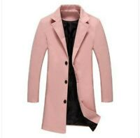 Men's Woolen Jacket Single Breasted Lapel Collar Slim Fit Business Trench Coat