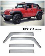 For 07-UP Jeep Wrangler 4 Door WellVisors Side Window Visors Premium Series