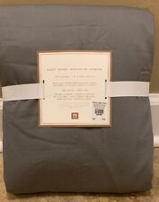 NEW Pottery Barn Teen Essential Solid Twill FULL QUEEN Duvet GRAY