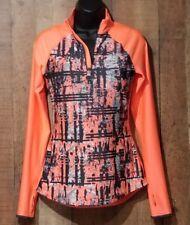 BCG Shirt Size Small Workout Gym Neon Orange Dri fit V neck LS Run Thumb holes