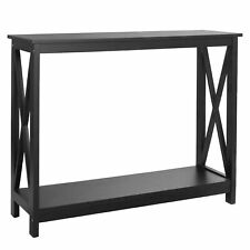 "39"" Console Table Square Wall Display Storage Shelf Entryway  Furniture Black"