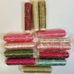 Lot of Ribbon Floss 12 Spools 11 Sealed Red Pink Green Metallic YLI 142 144