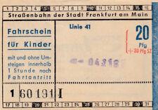 ANTIGUO BILLETE para niños Tranvía Frankfurt am Main, Alemania (g3322)