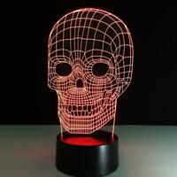 Skull Head 3D illusion USB Prowerd Touch switch 7 Color LED Night Light Lamp