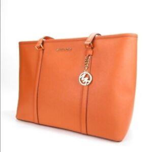 Michael Kors Sady Zip Top  Leather Tote, Persimmon/Orange