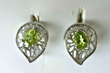 NATURAL AAA APPLE GREEN PERIDOT PEAR & WHITE CZ STERLING 925 SILVER EARRING
