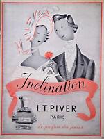 PUBLICITÉ DE PRESSE 1954 FLACON PARFUM L.T. PIVER INCLINATION - ADVERTISING