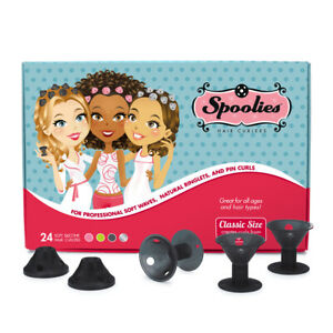 Spoolies Hair Curlers Official Store, 24 Rollers, Heat-Free - Shadow Black