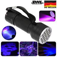 UV Lampe LED Taschenlampe 395 nm 21 LEDs Zoom Scorpion Bernstein Schwarzlicht DE