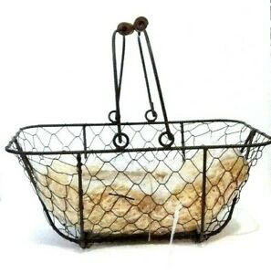 Chicken Wire Basket Primitive Rustic Country Farmhouse with Filler Tag and Wrap