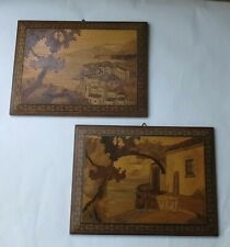 Pr. GOOD QUALITY VINTAGE SORRENTO WARE MARQUETRY PLAQUES