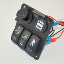New DC 12V USB 3 Gang Switch Panel Circuit Rocker Breaker Car Rv Boat Marine