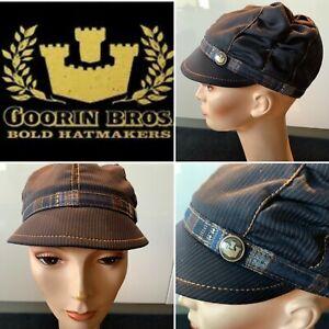 "GOORIN BROS. NWT $39.95 CAP Navy Pinstripe Wool Mix ""NATA"" Lined, Unisex, X-SM"