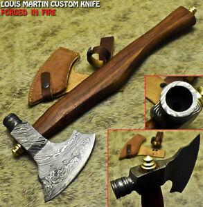 Louis Martin Handmade Damascus Walnut Wood Tomahawk Hunting Axe Knife with Pipe