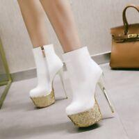 Womens Zip Stiletto High Heel Platform Ankle Boots Party Shoes UK Plus Size 1-12