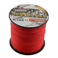 Super Power 500M Red 100LB Ashconfish Super Strong 100% PE Braided Fishing Line