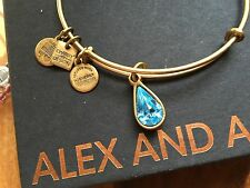 ALEX and ANI CHARITY By DESIGN AQUA LIVING WATER Charm GOLD Bangle BRACELET