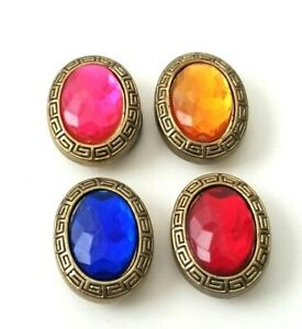 Set of 4 VTG Oval Faux Gem Stone Gold Tone Button Covers Blue Pink Red Yellow