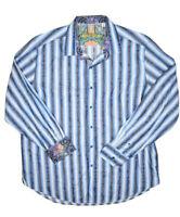 Robert Graham Dress Shirt Mens 2XL Striped Button Up Blue Floral Design Cuff