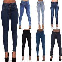 SALE WOMEN'S HIGH WAIST JEANS Ladies Stretch Denim Skinny Slim Pants SIZE 6-16