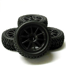 9083 1/10 Scale RC Car Off Road 10 Spoke Wheel and Rally Tread Tyre Black x 4