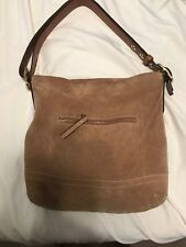 Coach Bag Authentic Camel Color Suede With Leather Wallet.