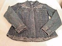 Christopher & Banks Women's Blue embellished Denim Jean Jacket Size Med