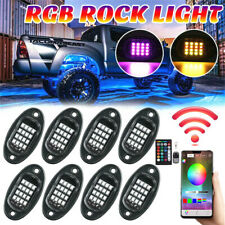 12V 8Pcs RGB LED Car Rock Lights Underbody Neon Lamp APP Dual Remote Control Set