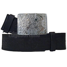 GENUINE REAL LEATHER EMBOSSED SCOTTISH KILT BELT CHROME CELTIC BUCKLE 30-48 (B)