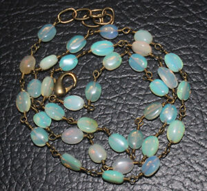 27 CRTS 19.5''  NATURAL ETHIOPIAN  OPAL SMOOTH OVAL CHAIN BEADS NECKLACE #48
