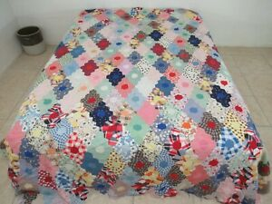 NEEDS TLC Vintage Feed Sack Floral Prints DIAMOND FLOWER GARDEN Quilt TOP; Queen