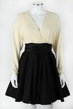 S 2 HALSTON HERITAGE IVORY BLACK LONG SLEEVE FULL skaters SKIRT DRESS LOLITA
