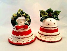 Christmas Bell Salt & Pepper MIJ Porcelain Shakers Tree Ornaments Holiday Bells