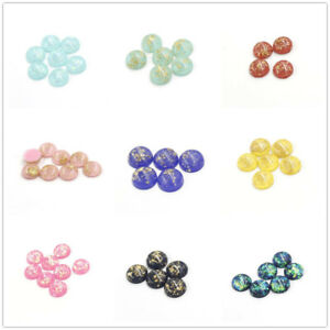 20PCS/Pack Assorted 8-12mm Round Resin Gold Foil Cameo Flatback Cabs Accessories