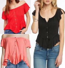 Free People Off The Shoulder Ruffle Peasant Top Mint-Julep Tee Flutter OB564528