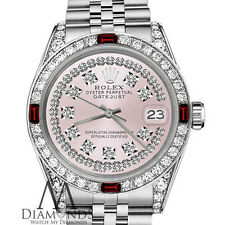 Ladies Rolex 26mm Datejust Pink String Dial with Ruby & Diamonds Vintage Style