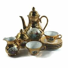 VTG 9 Pc Bareuther Waldsassen Tea Set Gold Fragonard Bavaria Germany