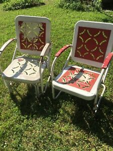 Vintage Metal Chair and Glider Chair In Pie Crust Design