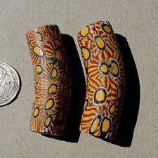 2 old large venetian elbow millefiori african trade beads #1337